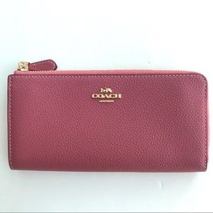 Coach Leather zip around wallet Tulip Pink $250